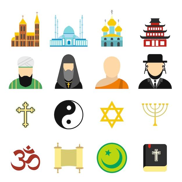 Religion flat elements set Premium Vector