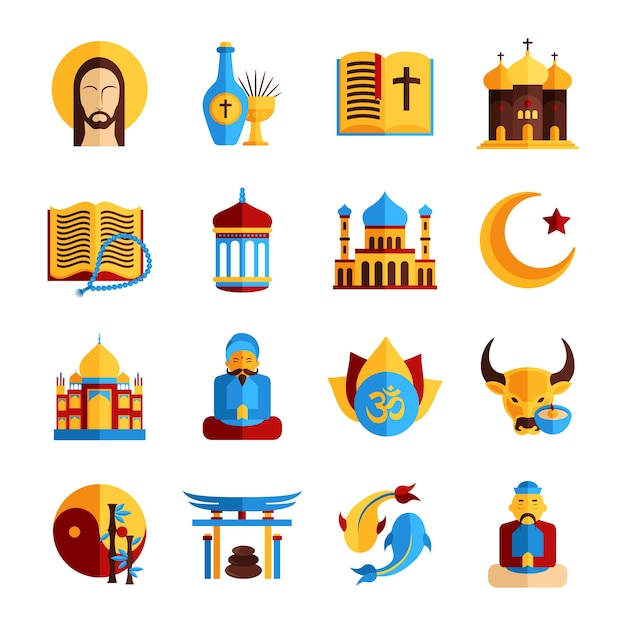 Religion icon set Free Vector