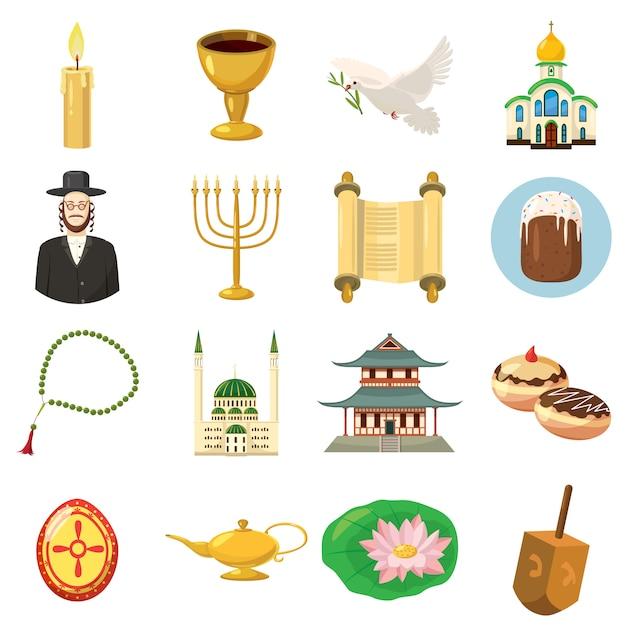 Religion icons set in cartoon style isolated Premium Vector