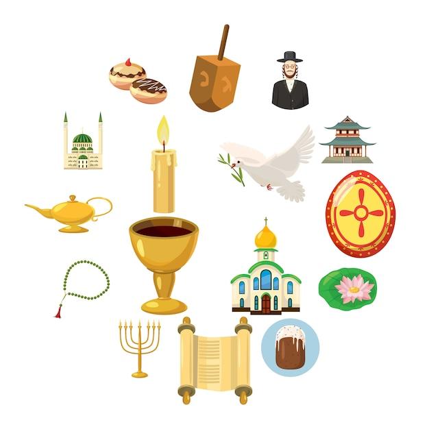 Religion icons set, cartoon style Premium Vector