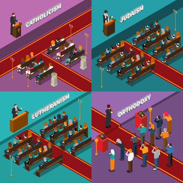 Religion and people isometric illustration Free Vector