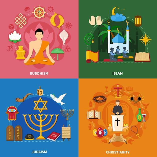 Религии икона set Бесплатные векторы