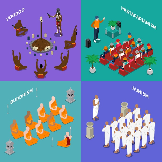 Religions people isometric concept Free Vector