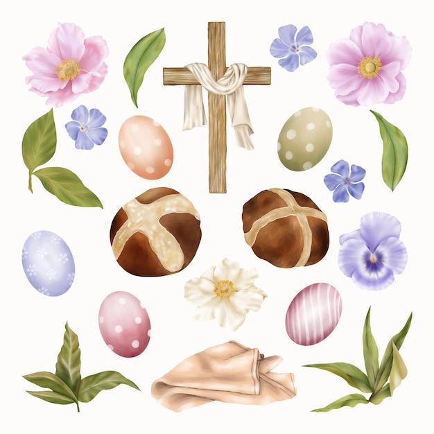 premium vector | religious easter clipart cross, eggs with spring blue  flowers  freepik