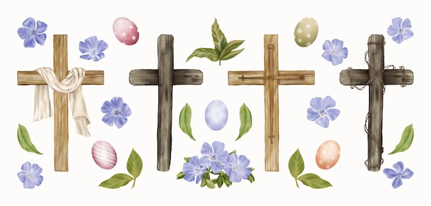premium vector | religious easter clipart crosses, eggs, spring flowers  freepik