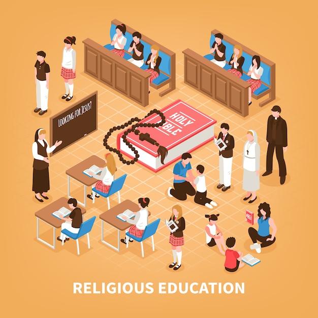 Scuola isometrica di domenica della composizione isometrica in istruzione religiosa per bibbia dei bambini che legge a casa preghiera nell'illustrazione della chiesa Vettore gratuito