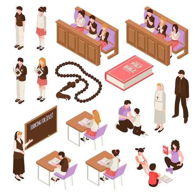 Религиозное образование набор изометрических иконок обучения в воскресенье школьников во время молитвы изолированных иллюстрация Бесплатные векторы