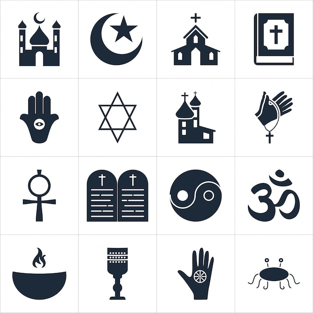 Religious icons set Free Vector