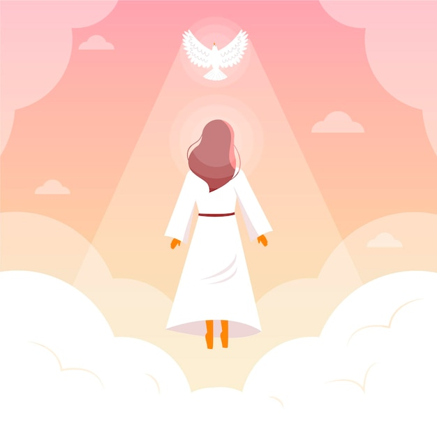 Religious resurrection day with pigeon Premium Vector