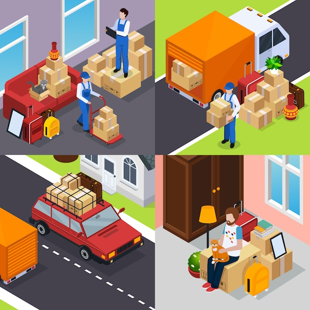 Relocation isometric concept Free Vector
