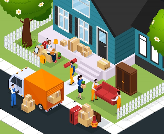 Relocation isometric Free Vector