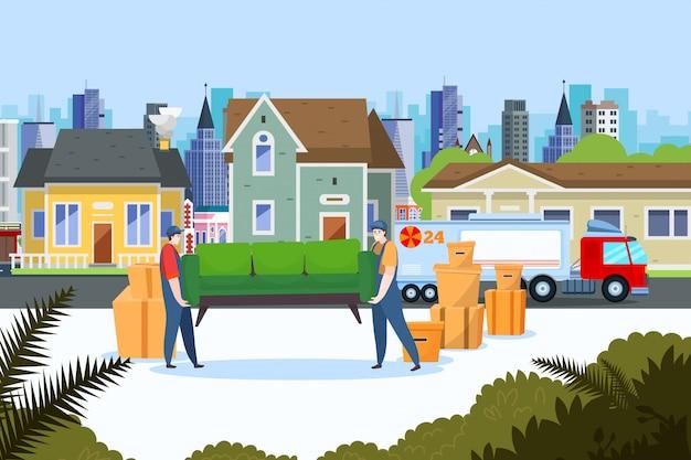 이전 서비스 제공, 일러스트레이션. 주택 부동산 운송, 사람들은 집 가구를 트럭으로 옮깁니다. 프리미엄 벡터