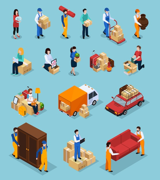 Relocation service isometric icons Free Vector