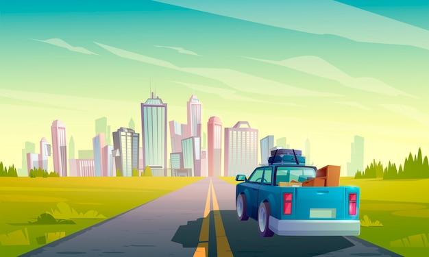 Переезд в другой город, грузовик с грузом Бесплатные векторы