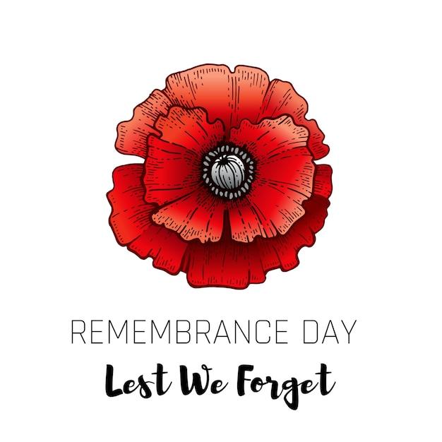 スケッチポピーと記念日カード。現実的な赤いケシの花のシンボル、11月11日ポスター「忘れないように」のテキスト。記念の思い出。 Premiumベクター