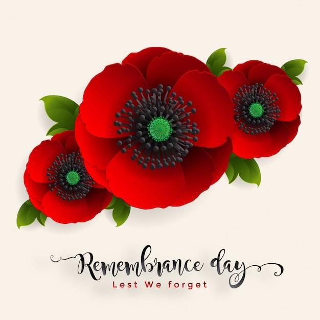 忘れないために記念日。紙で現実的な赤いケシの花は、背景にアートとクラフトスタイルをカットしました。 Premiumベクター
