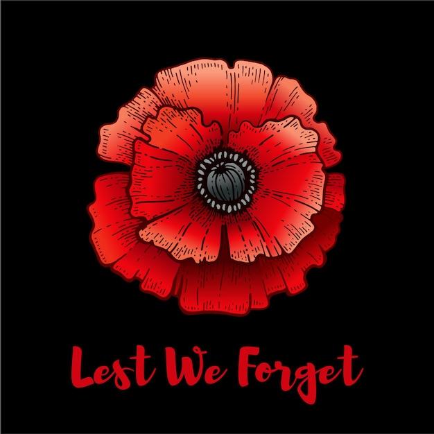 記念日。テキストを忘れないようにポピー。休戦協定とアンザックの背景。世界大戦記念の花のイラスト。 11月11日ポスター。赤いポピーとカナダ、オーストラリアのバナー Premiumベクター