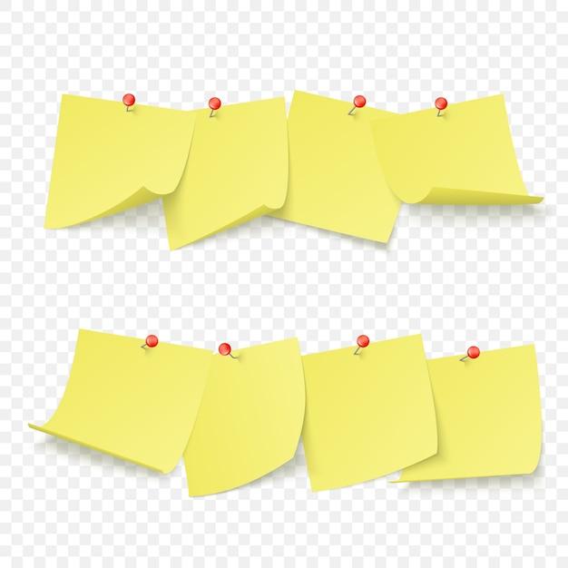 빨간색 핀이 부착 된 빈 노란색 스티커가있는 알림 보드 프리미엄 벡터