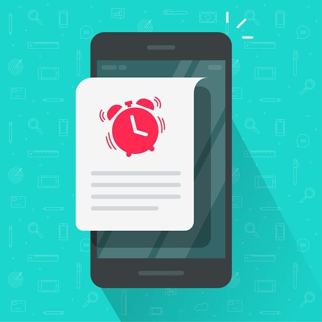 Напоминание о крайнем сроке события информационное сообщение на мобильном телефоне Premium векторы