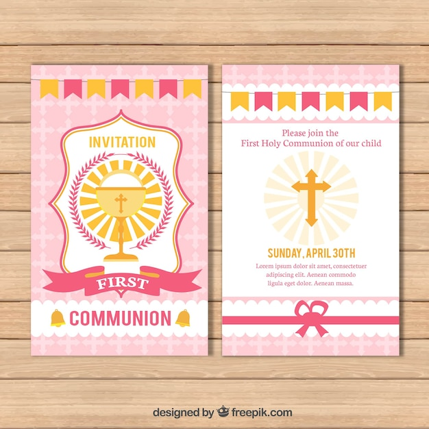 Reminder of first communion with chalice and cross Free Vector