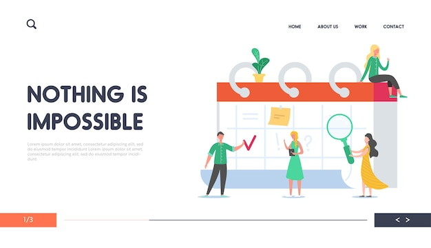 Напоминание, целевая страница концепции расписания. деловые люди, работающие по расписанию. крошечные персонажи, планирующие рабочий проект на настольном календаре для веб-сайта. Premium векторы