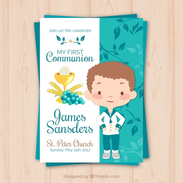 Reminder with kid of communion Free Vector