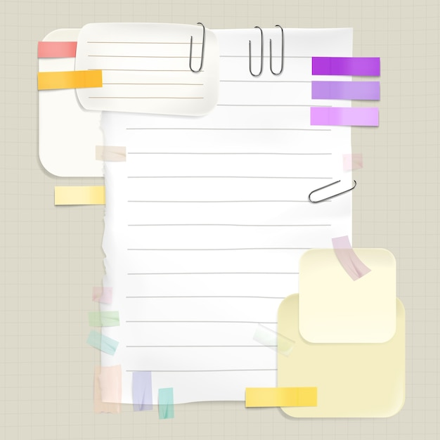Reminders and message notes illustration of memo stickers and paper pages for to-do list Free Vector