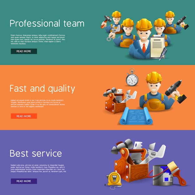 Remodeling construction service flat banners set Free Vector