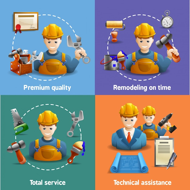 Remodeling service 4 flat icons square Free Vector