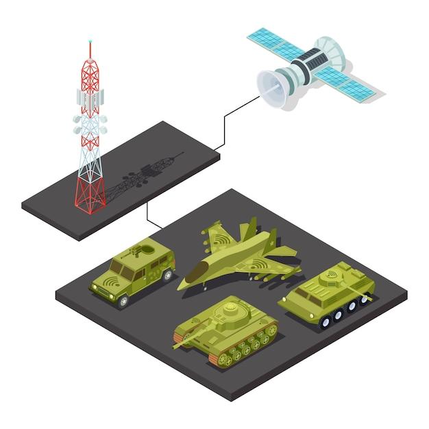 Wi-fiの図と軍事機器のリモートコントロール Premiumベクター