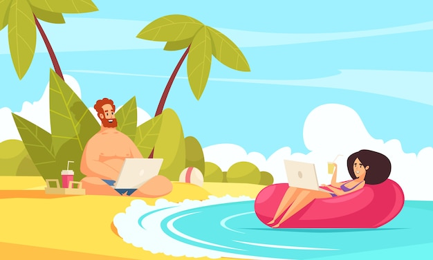 Remote flexible work flat cartoon composition with freelancers couple vacation with laptops on tropical beach Free Vector