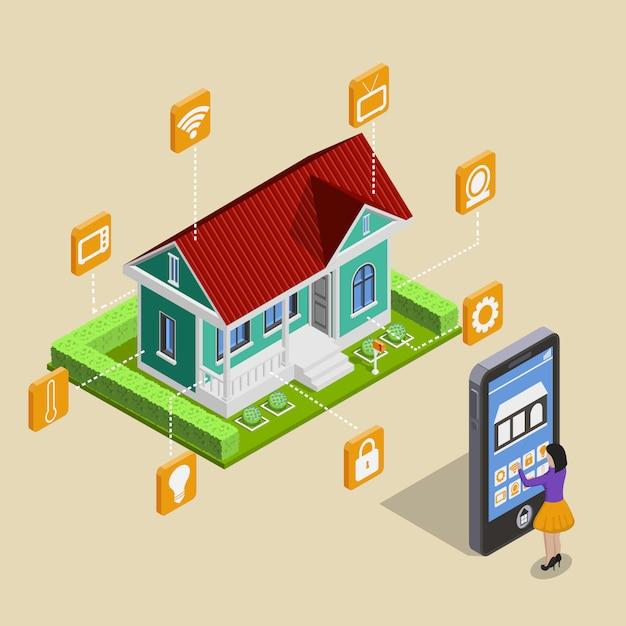 Remote house control concept Free Vector