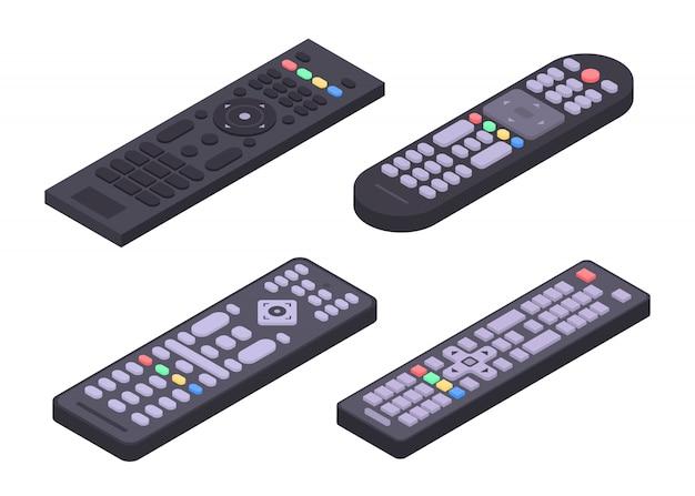 Remote icons set, isometric style Premium Vector