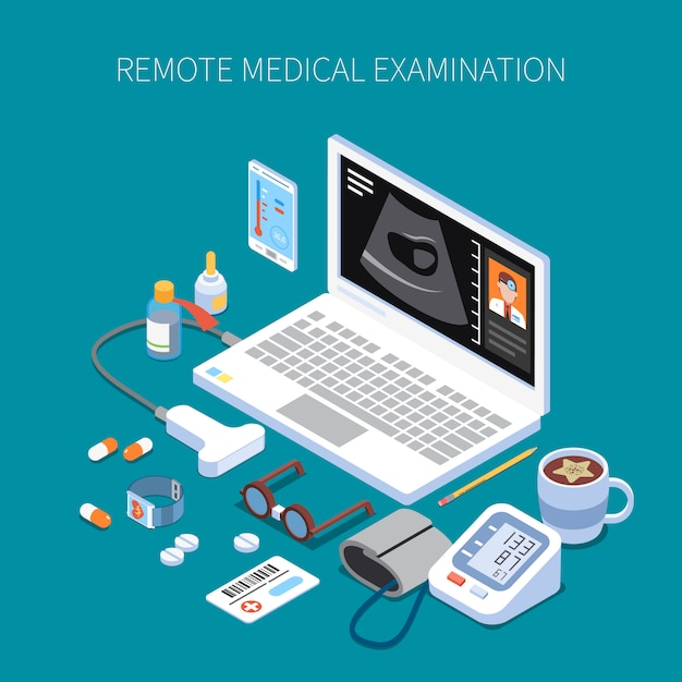 Remote medical examination isometric composition with human organ ultrasound on laptop screen and medicine devices Free Vector