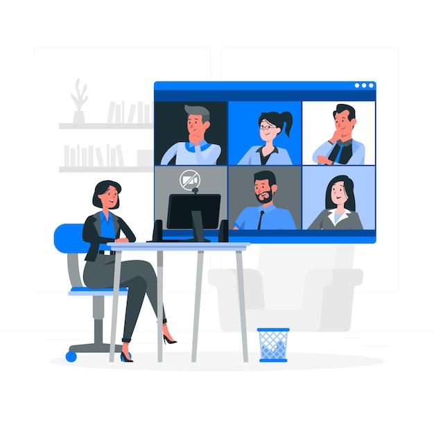 Illustrazione di concetto di riunione remota Vettore gratuito