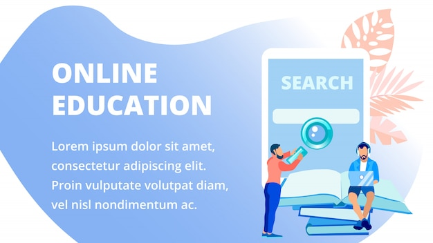 Remote school advertising banner vector template Premium Vector