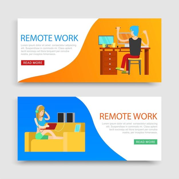 Надпись удаленной работы на set s, рабочее место, работа через интернет на компьютере, иллюстрация. интернет-бизнес, сидящая женщина с ноутбуком дома, внештатный сотрудник. Premium векторы