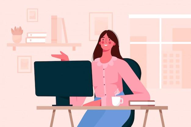 Удаленная работа или онлайн концепция образования. женщина работает в домашнем офисе Premium векторы