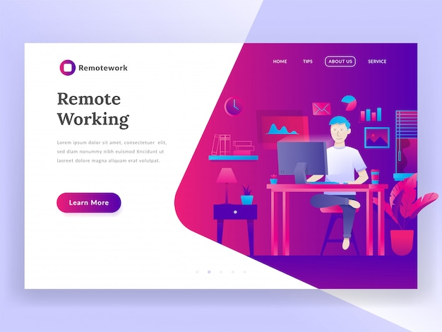 Remote working landing page Premium Vector