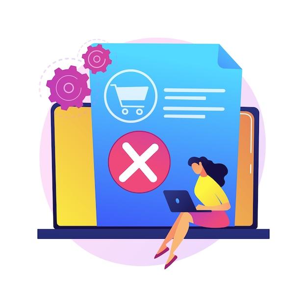 バスケットから商品を取り出し、購入を拒否し、決定を変更します。アイテムの削除、ゴミ箱の空にします。オンラインショッピングアプリ、ラップトップユーザーの漫画のキャラクター。 無料ベクター
