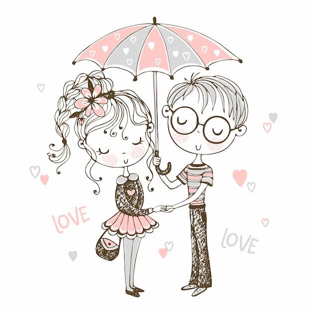 Милый мальчик и девочка под зонтиком. rendezvous.valentine. Premium векторы