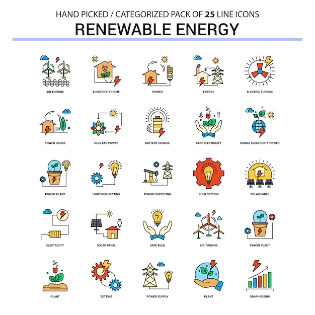Renewable energy flat line icon set Premium Vector