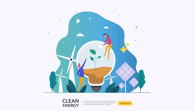 Renewable green electric energy sources and clean environmental concept Premium Vector