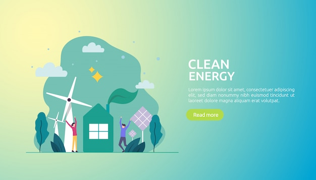 Renewable green electric energy sources and clean environmental Premium Vector