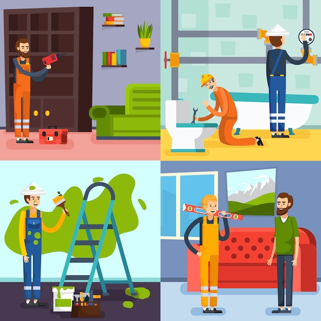 Renovation concept flat icons Free Vector