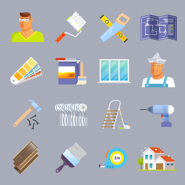 Renovation flat icons set Free Vector