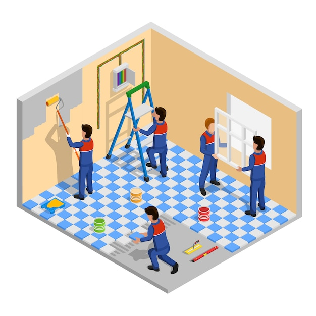 Renovation isometric composition Free Vector