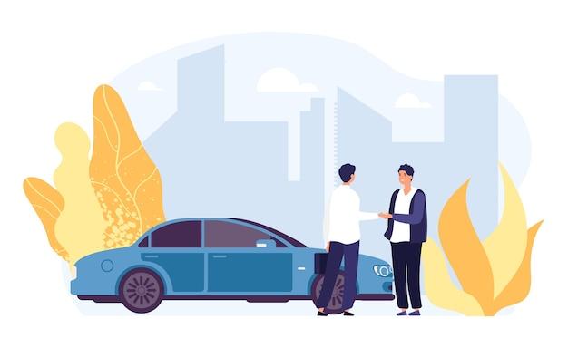 レンタカー。カーシェアリング、レンタカー代理店のイラスト。平らな男性キャラクター、ベクトル自動車、都市景観。輸送オートレント、サービスディーラー輸送 Premiumベクター