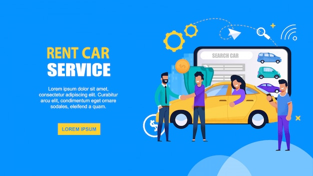 Rent car mobile service. landing page web template with happy people driving and share vehicle for automobile ride. yellow taxi transport search solution on mobile tablet Premium Vector