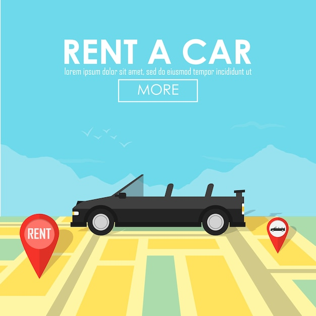 Rent a car pin pointer on map location Premium Vector